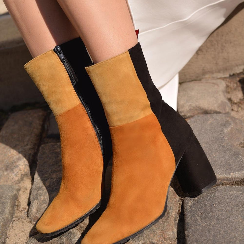 Daniella Shevel Biscotti Color block Boot with Block Heel on Woman in NYC