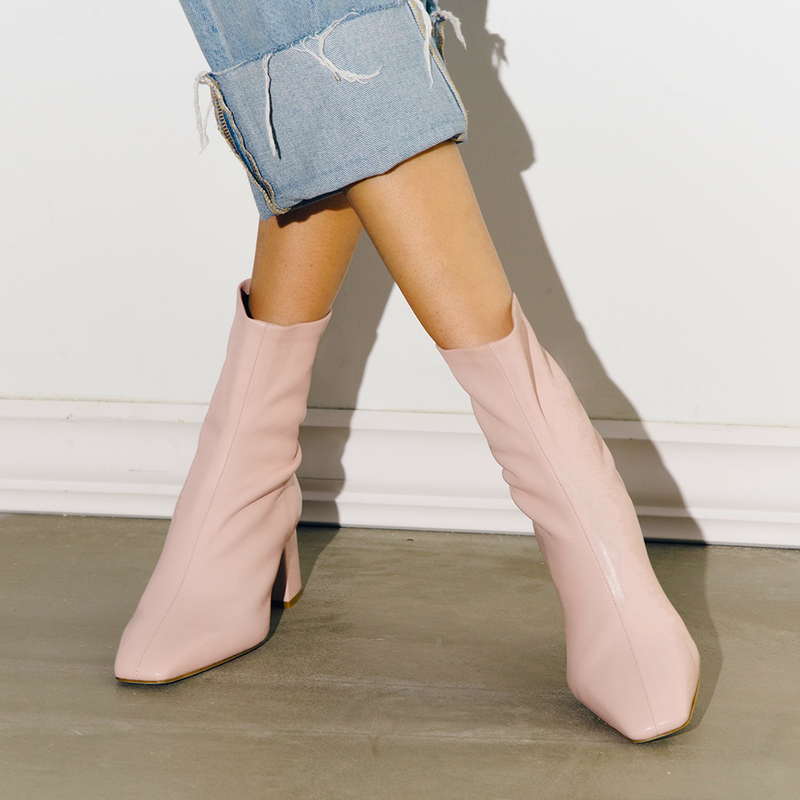 Daniella Shevel Milani Stretch Bootie in Soft Pink with all denim look
