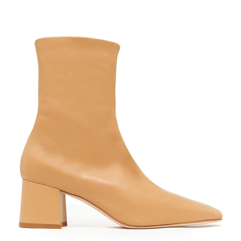 Daniella Shevel Milani Stretch Bootie in Creamy Camel Side View