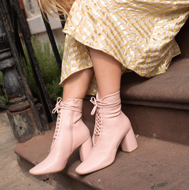 Daniella Shevel BellaDonn Light Pink Leather Boot with Heel and Light Pink Laces on Influencers
