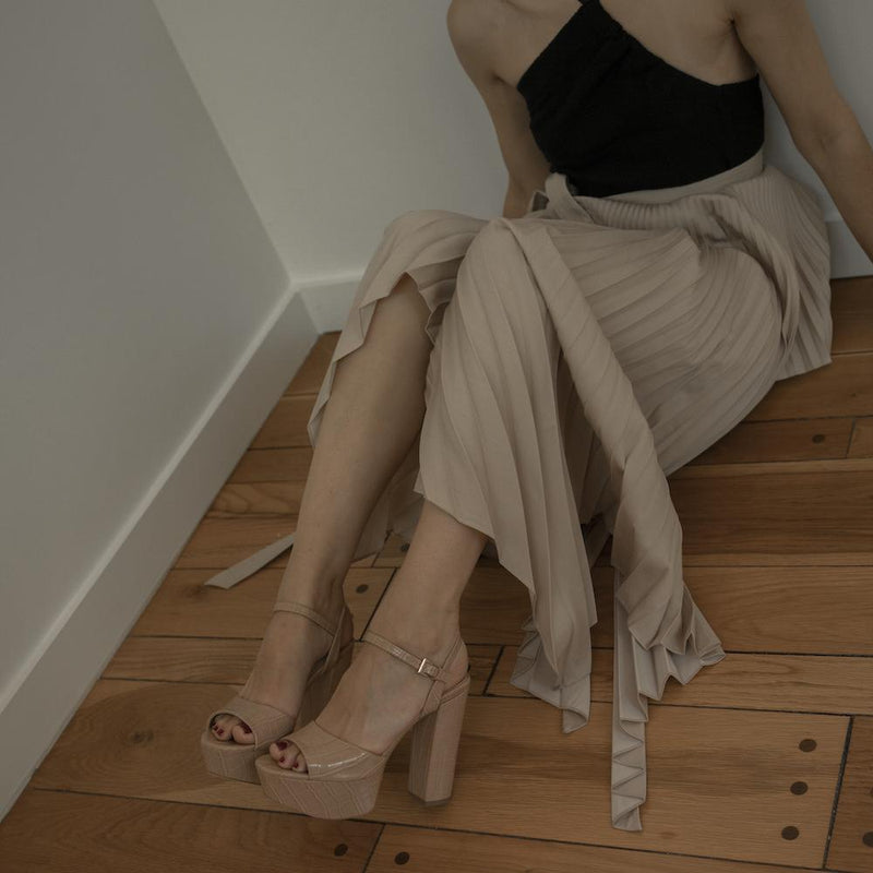 Daniella Shevel Vegan Nude Stamped Crocodile Platform Heel Sandal On Model With Skirt
