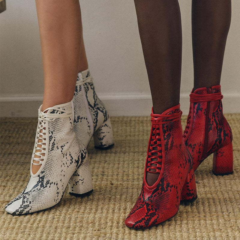 Daniella Shevel BellaDonna White and red Printed Snake Leather Boot with Heel and laces close up