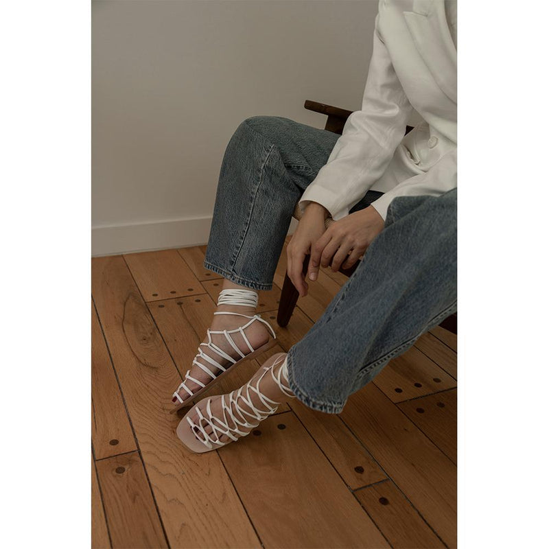Daniella Shevel Designer Vegan Flat Sandals with Denim Look on Influencer