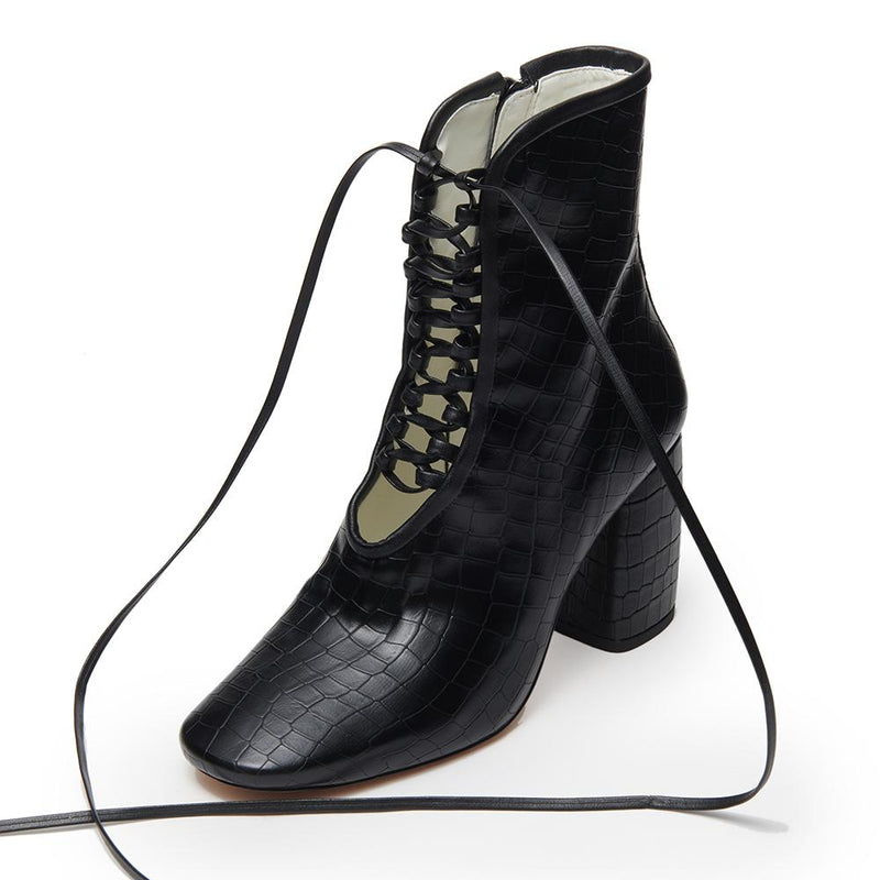 Daniella Shevel Designer BellaDonna Black Vegan Leather Boot with Heel and Laces three quarter View