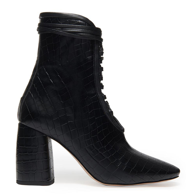 Daniella Shevel Designer BellaDonna Black Vegan Leather Boot with Heel and Laces Side View