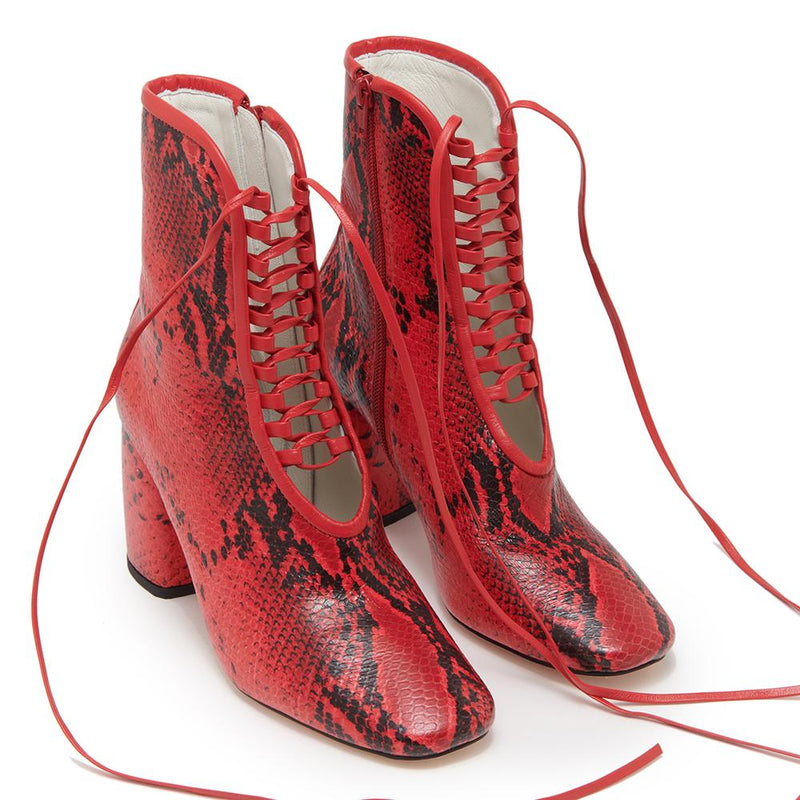 Daniella Shevel BellaDonna red Printed Snake Leather Boot with Heel front view