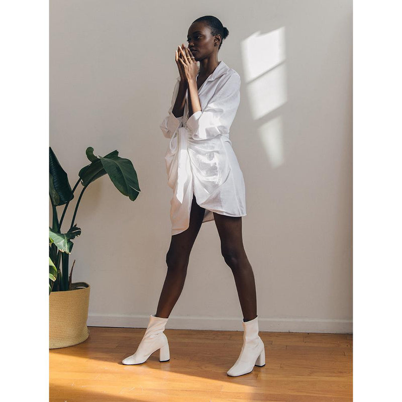 Daniella Shevel BellaMia white Stretch Boot with Block Heel and white Dress