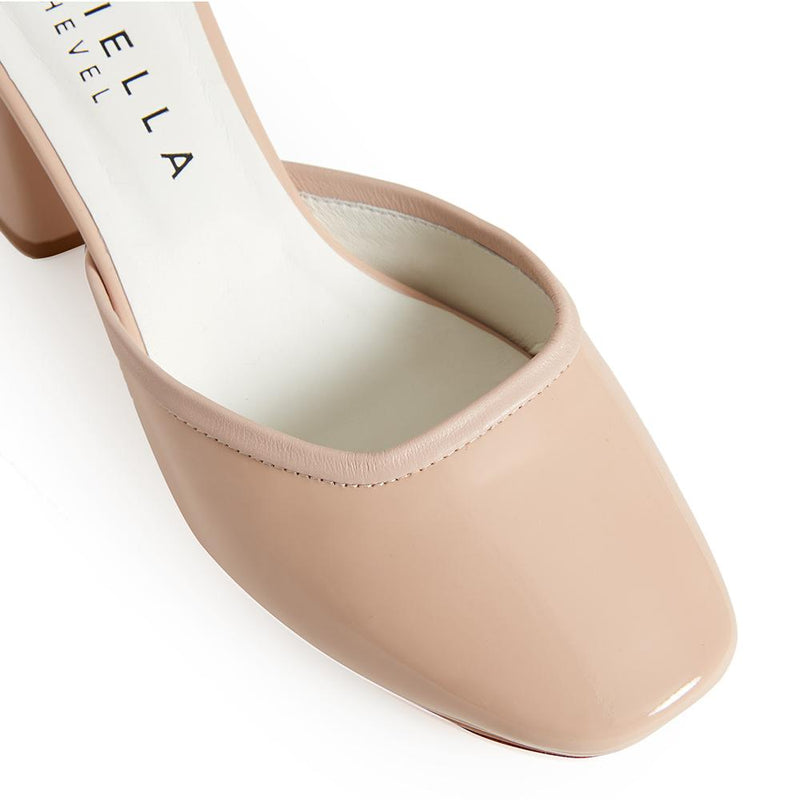 Daniella Shevel Retro Lady Women's Square Toe Nude Pink Pump with Leather Ankle Strap Detail View