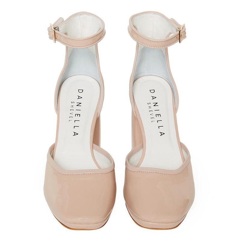 Daniella Shevel Retro Lady Women's Square Toe Nude Pink Pump with Leather Ankle Strap Front Pair View