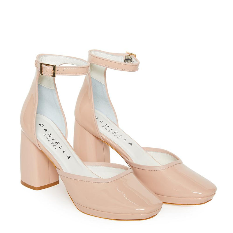 Daniella Shevel Retro Lady Women's Square Toe Nude Pink Pump with Leather Ankle Strap Angle View