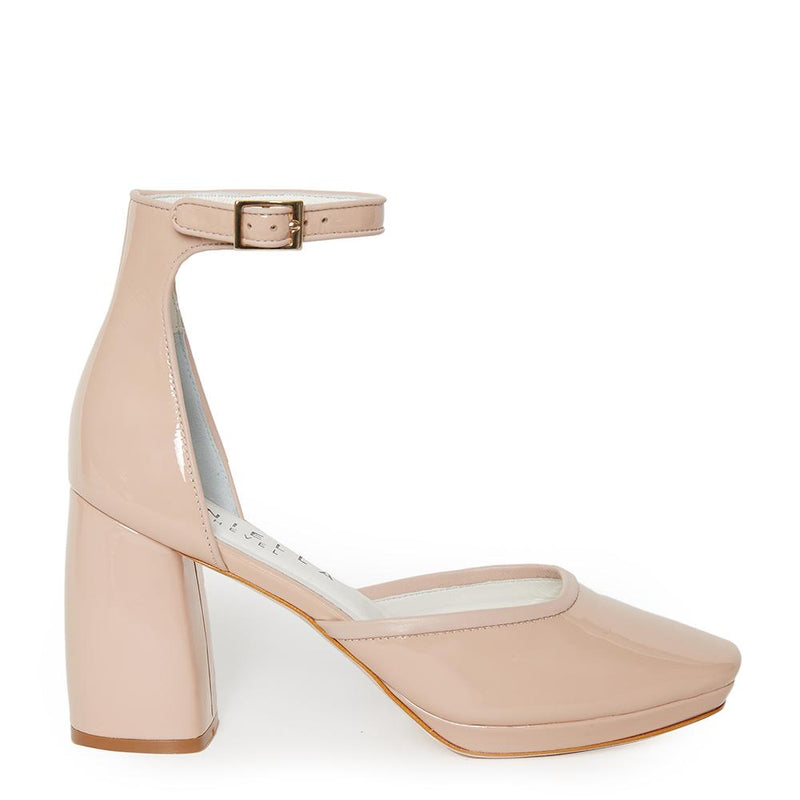 Daniella Shevel Retro Lady Women's Square Toe Nude Pink Pump with Leather Ankle Strap Side View
