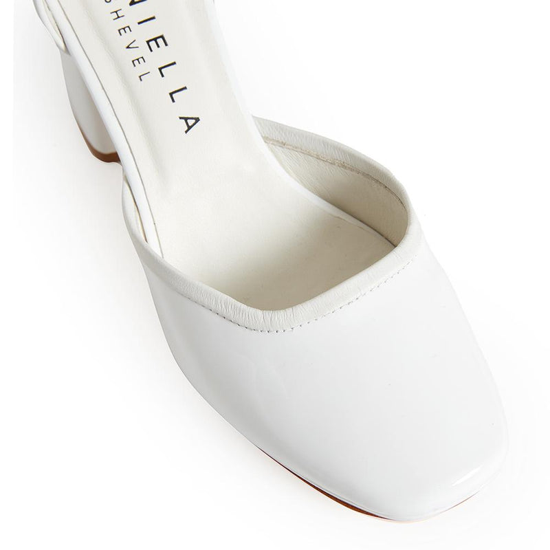 Daniella Shevel Retro Lady Women's Square Toe White Pump with Leather Ankle Strap Detail View