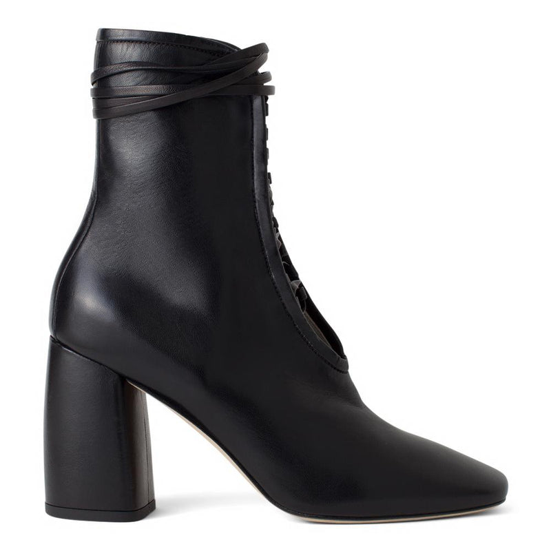 Daniella Shevel BellaDonna Black Leather Boot with Heel and Black Laces Side View