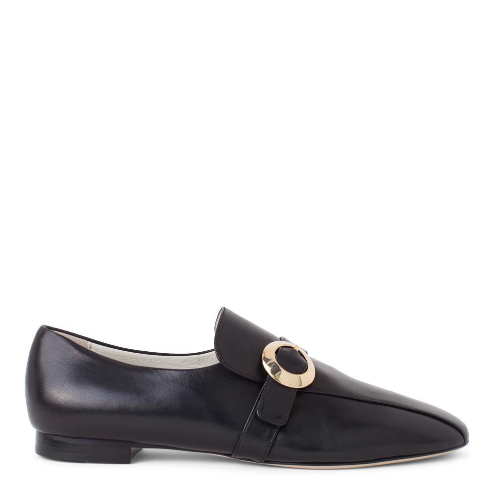 1cdc26ebbeb Daniella Shevel Women s Black Leather Loafer with Gold Buckle Accessory  Side View ...