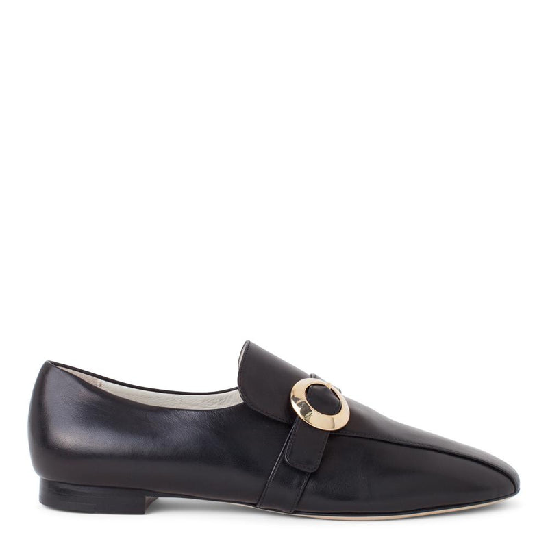 Daniella Shevel Women's Black Leather Loafer with Gold Buckle Accessory Side View
