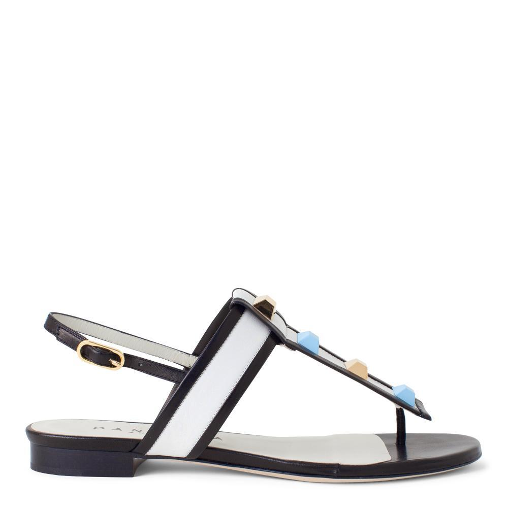14e2947bc0b Daniella Shevel Women s T-Strap Sandal in Black and White Leather with Blue  and Gold ...