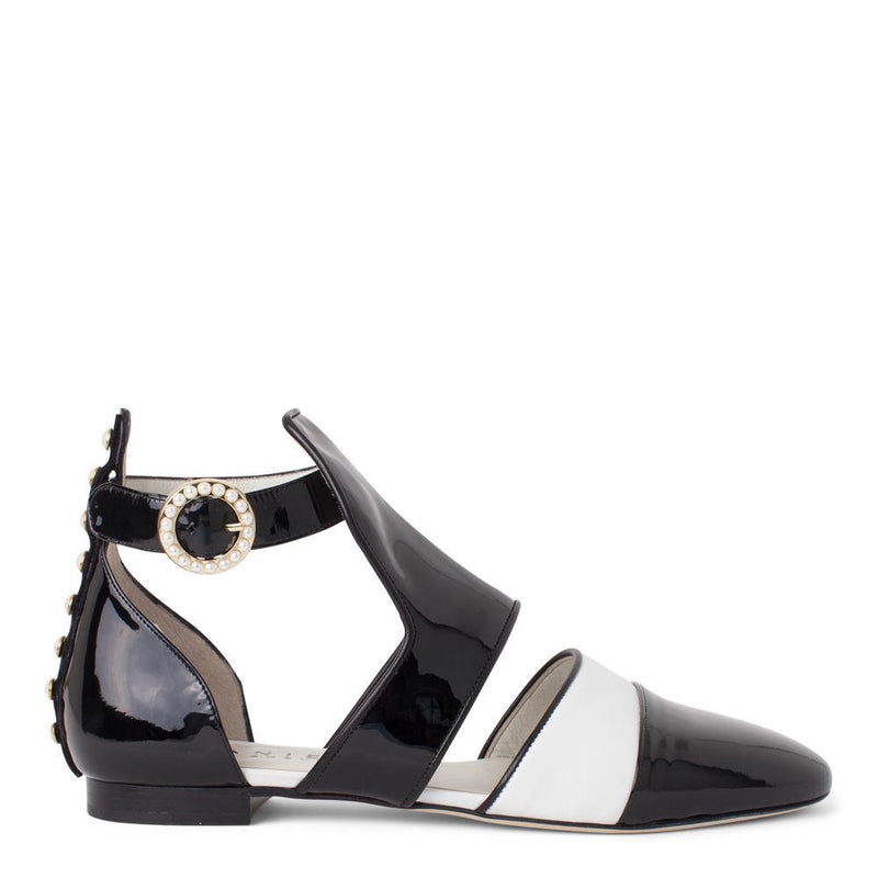 Daniella Shevel Women's Sandal in Black and White Patent Leather with Pearl Accents Side View