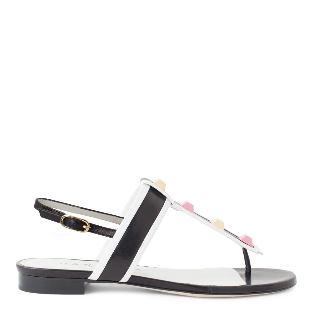 b091bf01391 Daniella Shevel Women s T-Strap Sandal in Black and White Leather with Pink  and Gold ...