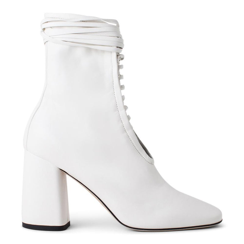 Daniella Shevel BellaDonna White Leather Boot with Heel and White Laces Side View
