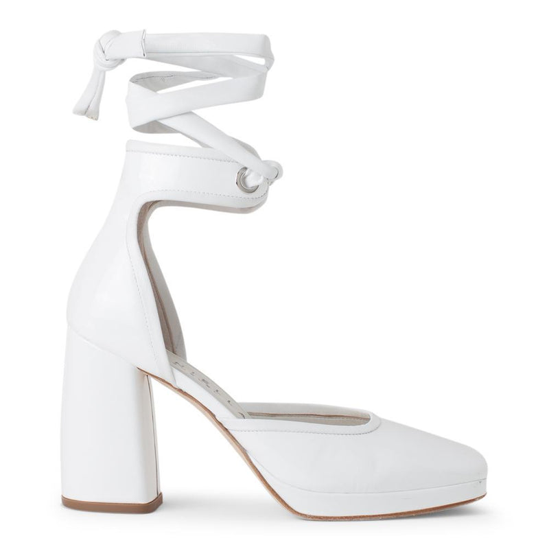 Daniella Shevel Women's Square Toe Pump in White Leather with Leather Ankle Strap Side View