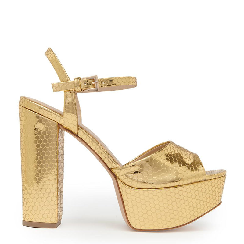 Daniella Shevel Vegan Gold Printed Crocodile Metallic Platform Heel Sandal Side View.
