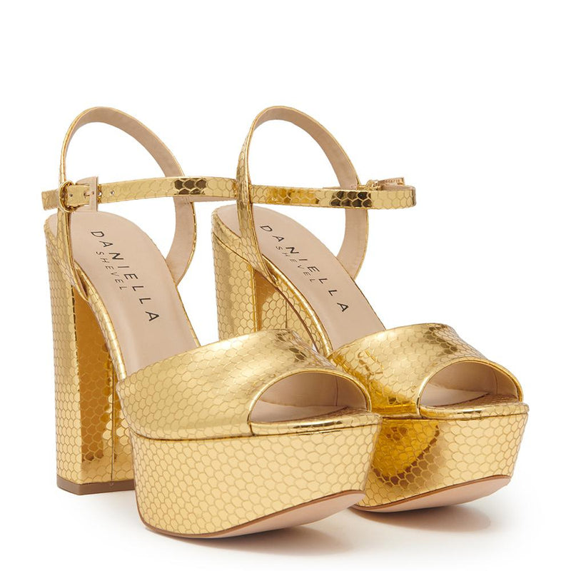 Daniella Shevel Vegan Gold Printed Crocodile Metallic Platform Heel Sandal Pair View.