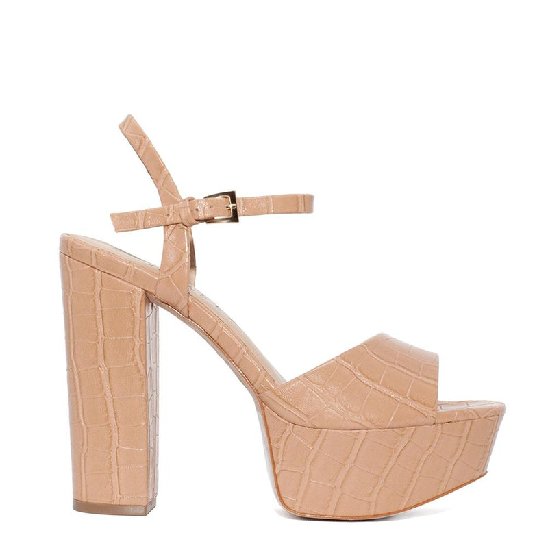 Daniella Shevel Vegan Nude Stamped Crocodile Platform Heel Sandal Side View