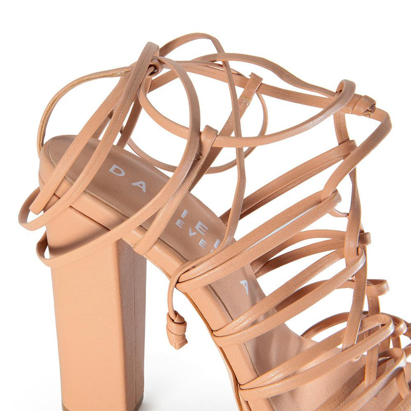 Daniella Shevel designer vegan shoe in nude strappy pump sandal detail view