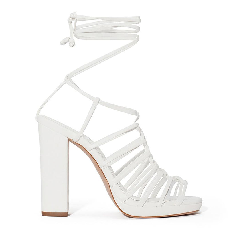 DANIELLA SHEVEL Zela White Vegan Strappy Heel Platform Sandal Side View