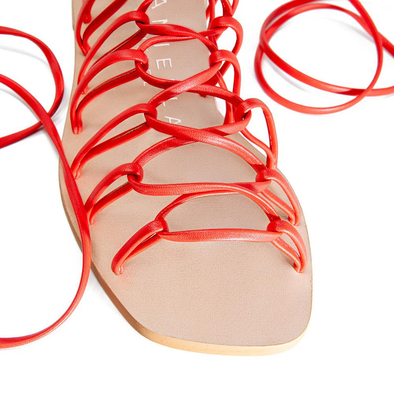 Daniella Shevel Designer Vegan Sandal in Coral Red Detail View