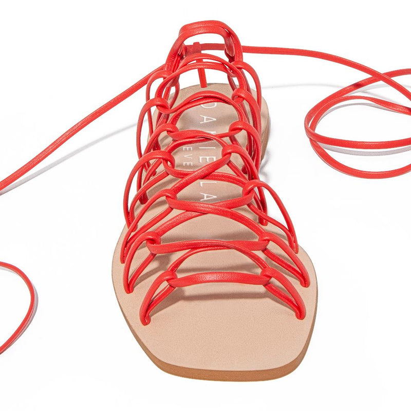Daniella Shevel Designer Vegan Sandal in Coral Red Front View