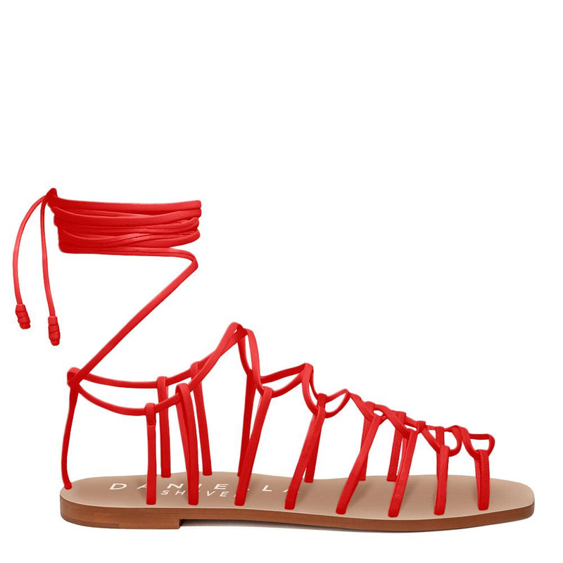 Daniella Shevel Designer Vegan Sandal in Coral Red Side View