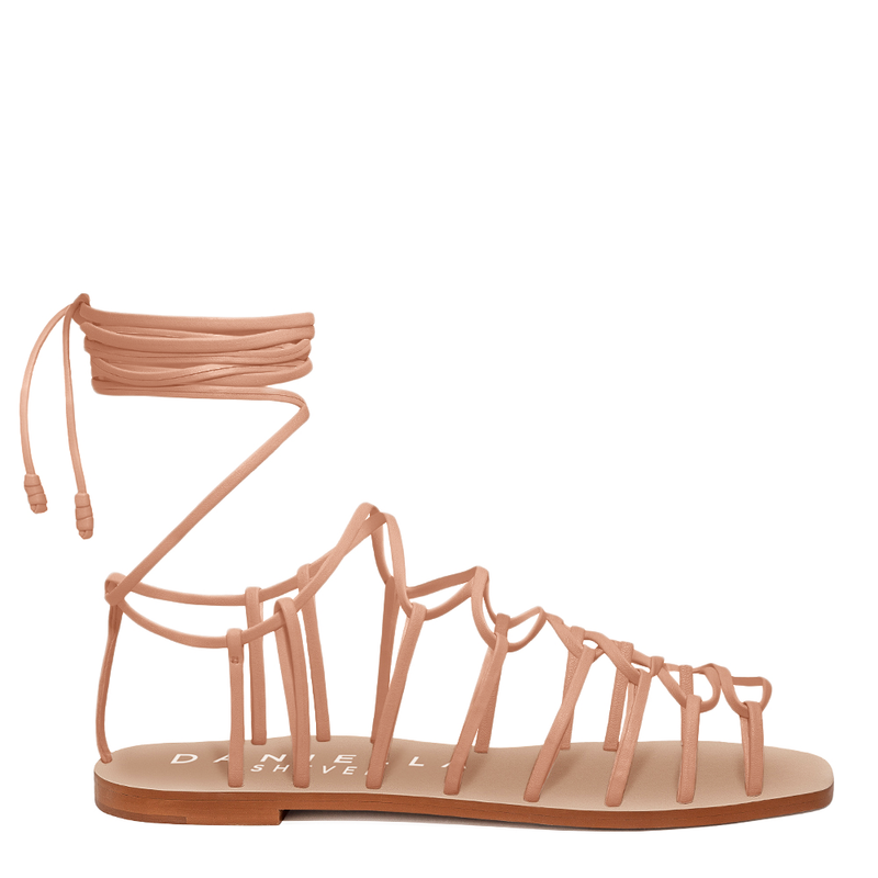 Daniella Shevel Vegan Strappy Flat Sandal in Nude Side View