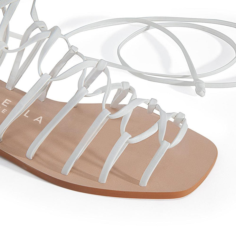 Daniella Shevel Designer Vegan Flat Sandal in White Detail View