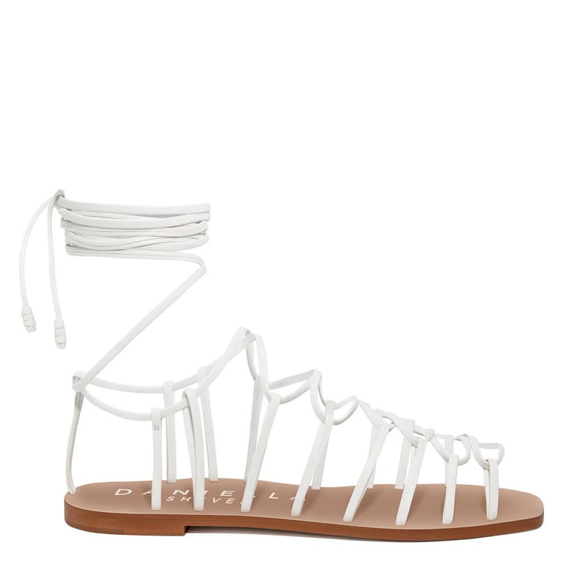 Daniella Shevel Designer Vegan Flat Sandal in White Side View