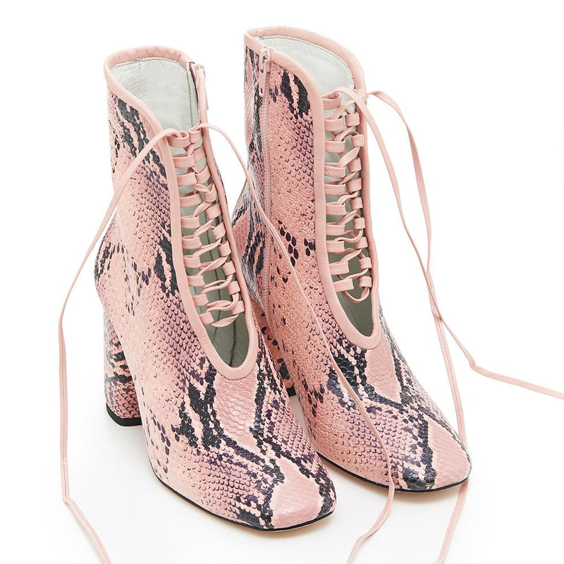 Daniella Shevel BellaDonna Pink Snake Printed Leather Boot with Heel and Pink Laces Full View