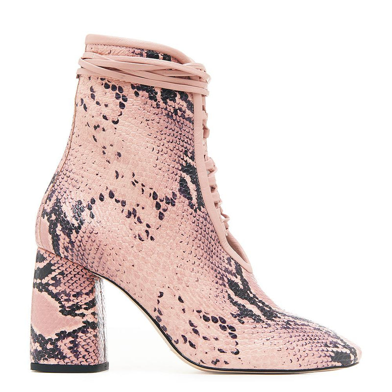 Daniella Shevel BellaDonna Pink Snake Printed Leather Boot with Heel and Pink Laces Side View