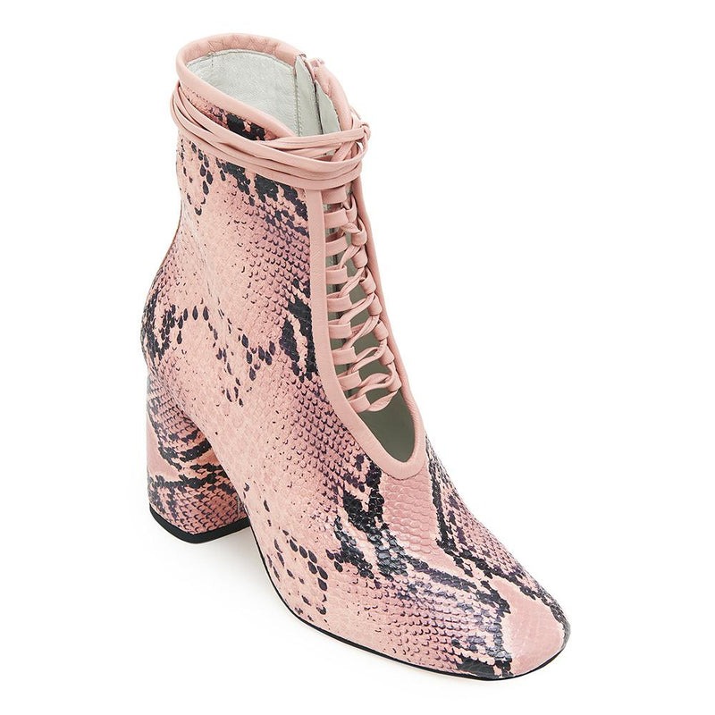 Daniella Shevel BellaDonna Pink Snake Printed Leather Boot with Heel and Pink Laces Angle View