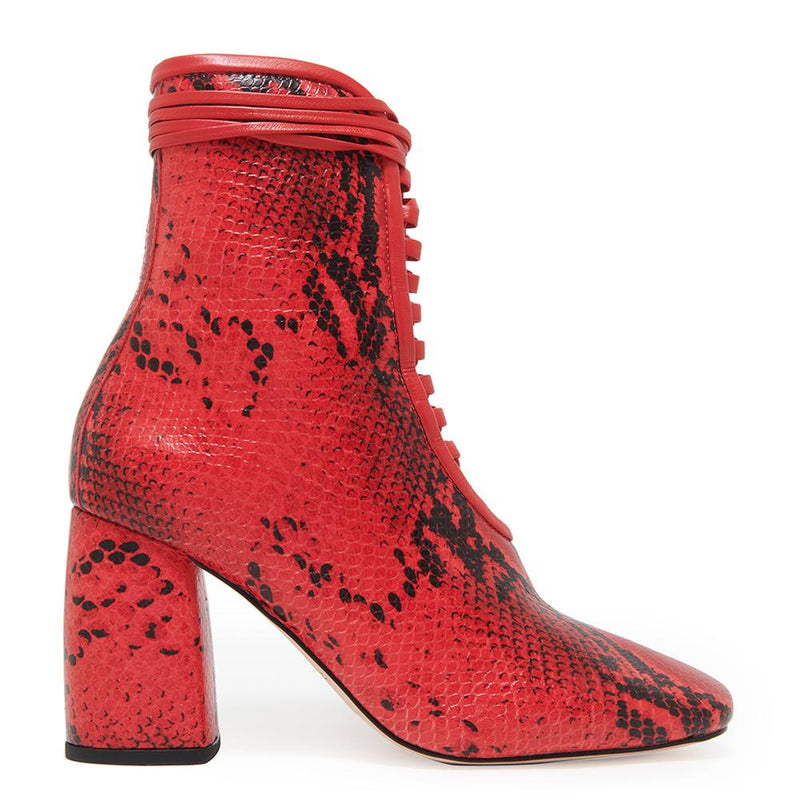 Daniella Shevel BellaDonna red Printed Snake Leather Boot with Heel side angle