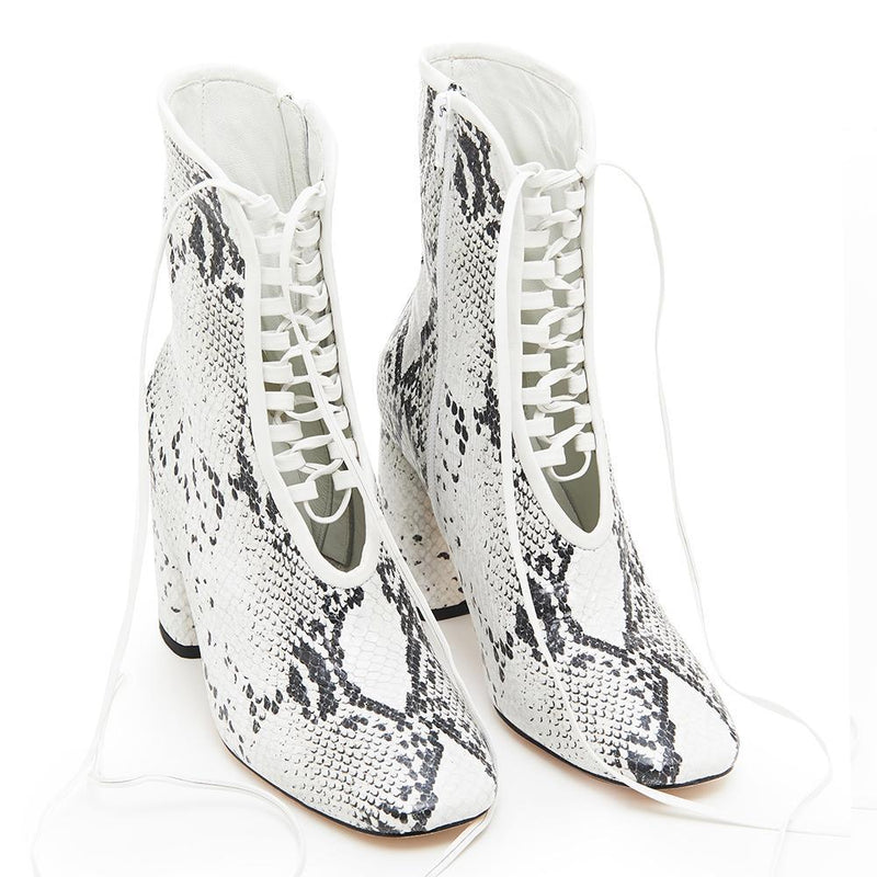 Daniella Shevel BellaDonna White Snake Printed Leather Boot with Heel and White Laces Full View