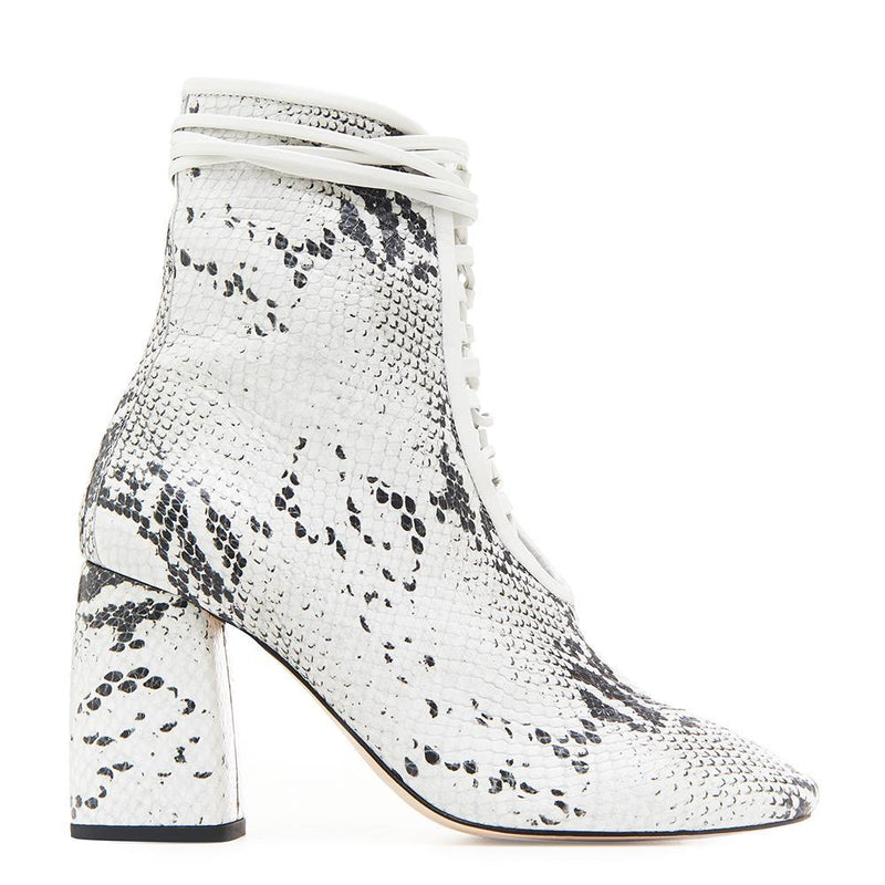 Daniella Shevel BellaDonna White Snake Printed Leather Boot with Heel and White Laces Side View