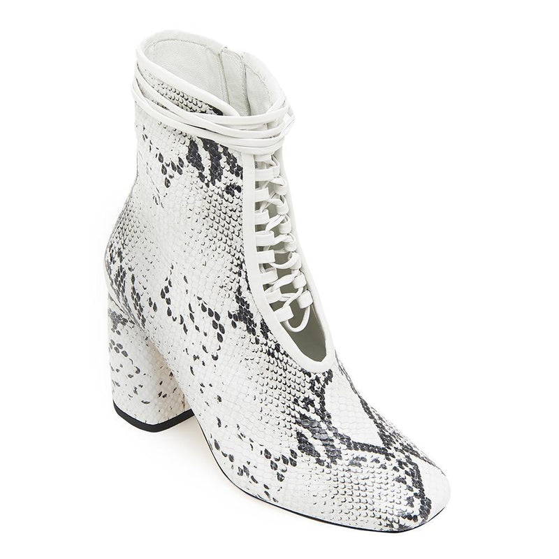 Daniella Shevel BellaDonna White Snake Printed Leather Boot with Heel and White Laces Angle View