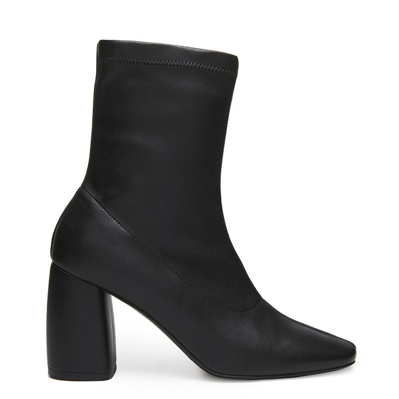 BellaMia Womens Nappa Stretch Black Boot with Block Heel Side View