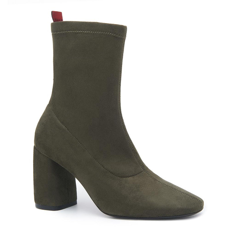 BellaMia Womens Suede Stretch Leather Olive Green Boot with Block Heel Angle View