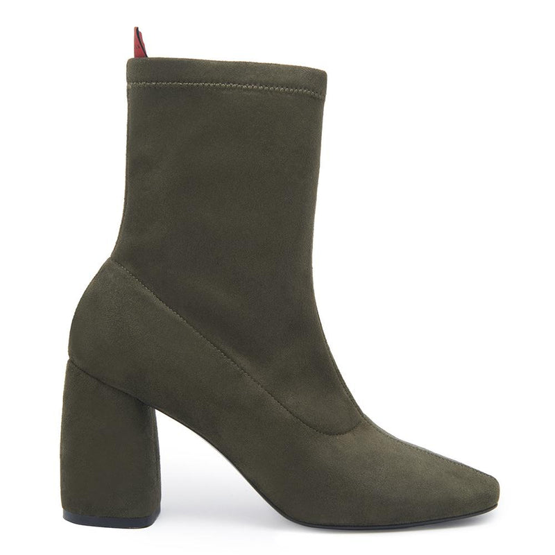 BellaMia Womens Suede Stretch Leather Olive Green Boot with Block Heel Side View
