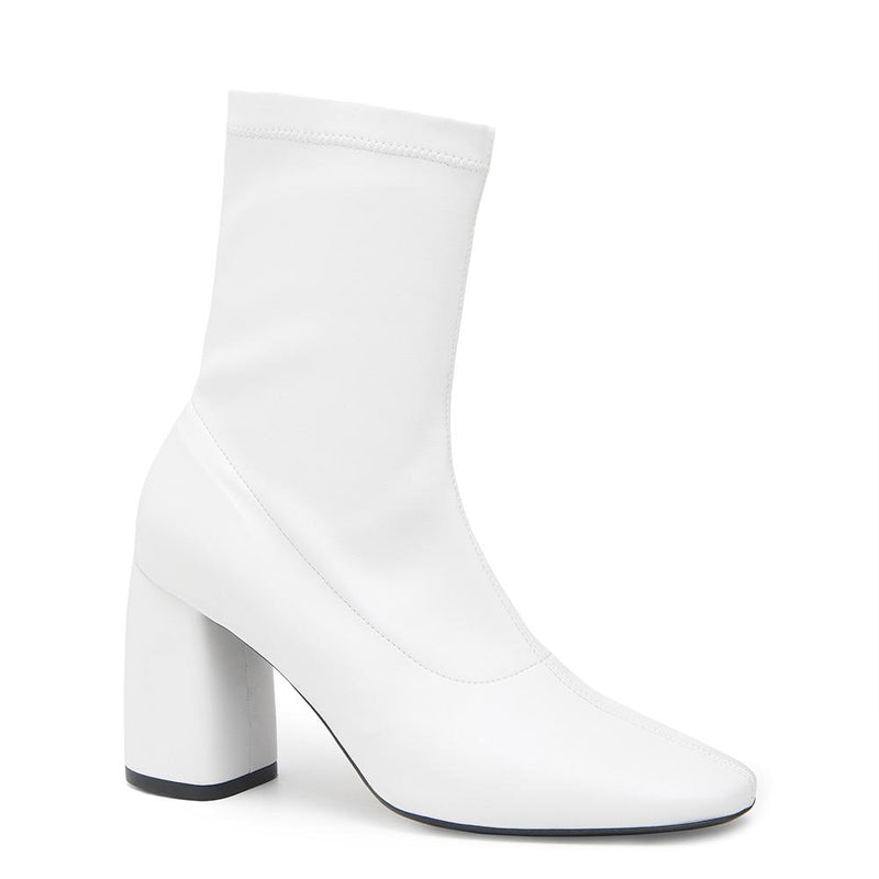 BellaMia Womens Nappa Stretch Leather White Boot with Block Heel Angle View