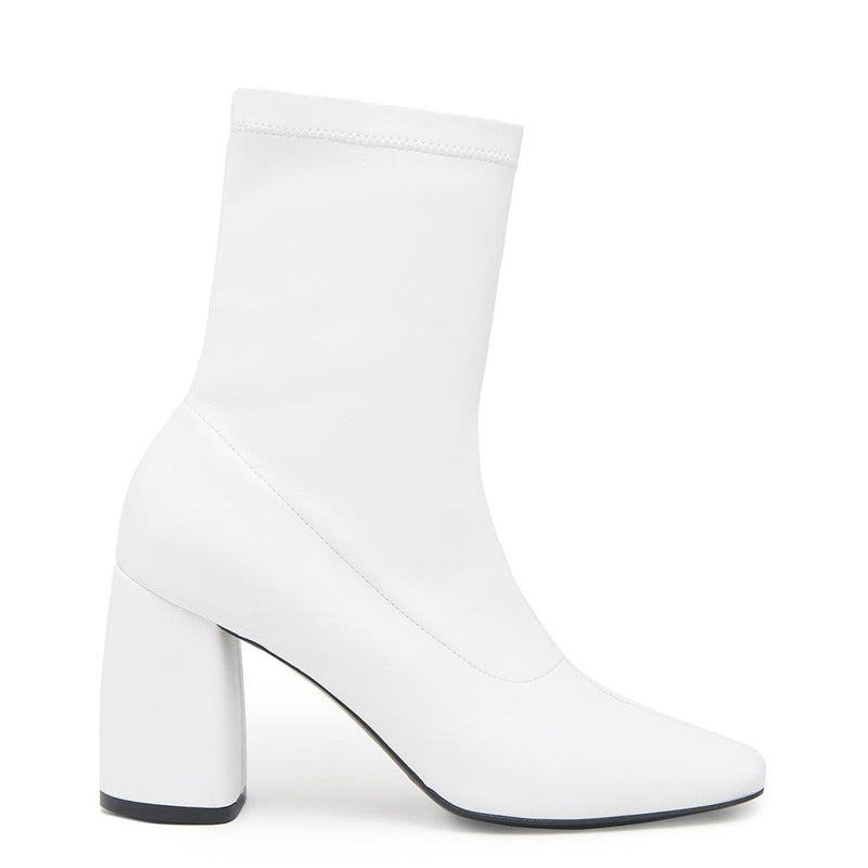 BellaMia Womens Nappa Stretch Leather White Boot with Block Heel Side View