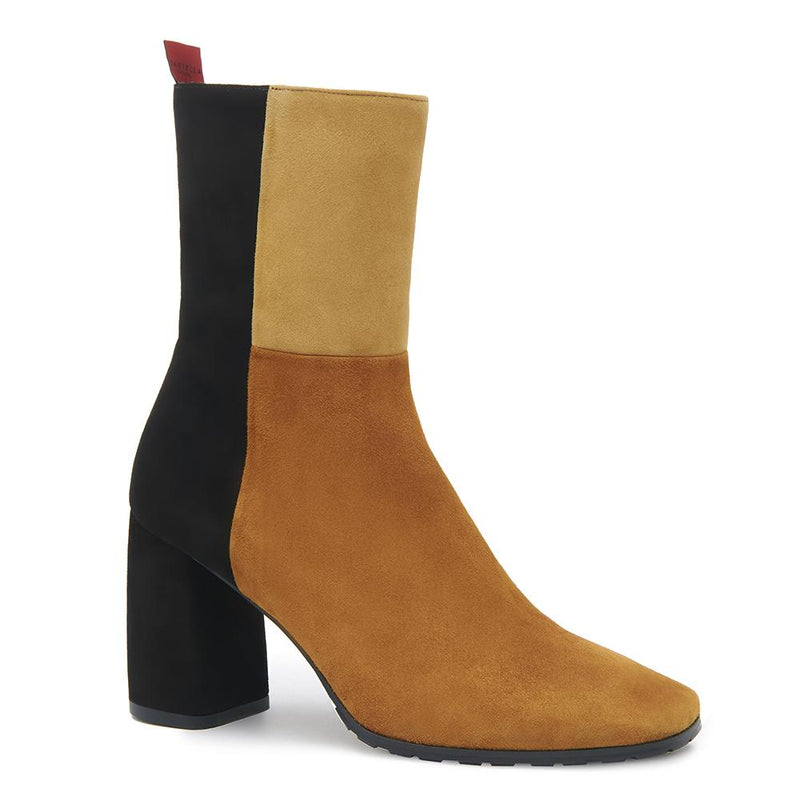 Biscotti Womens Suede Leather Colorblock Boot with Block Heel Angle View