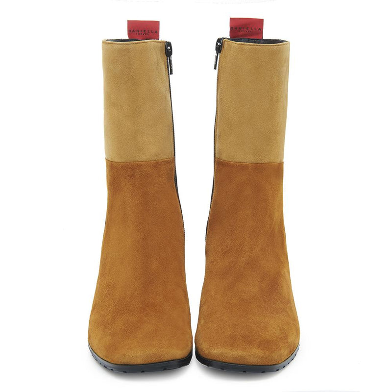 Biscotti Womens Suede Leather Colorblock Boot with Block Heel Front View