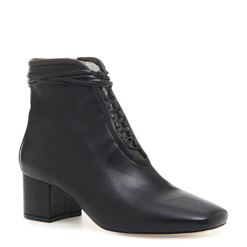 Daniella Shevel Cleo Black Nappa Leather Boot with Low Heel and Black Laces Angle View